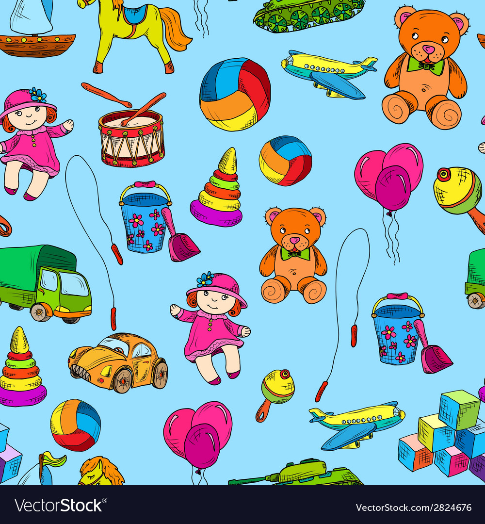 Toys seamless pattern vector | Price: 1 Credit (USD $1)