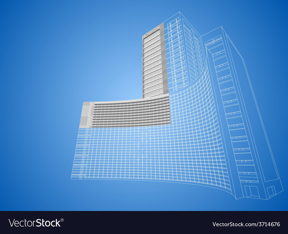 Wireframe hospital built structure vector | Price: 1 Credit (USD $1)