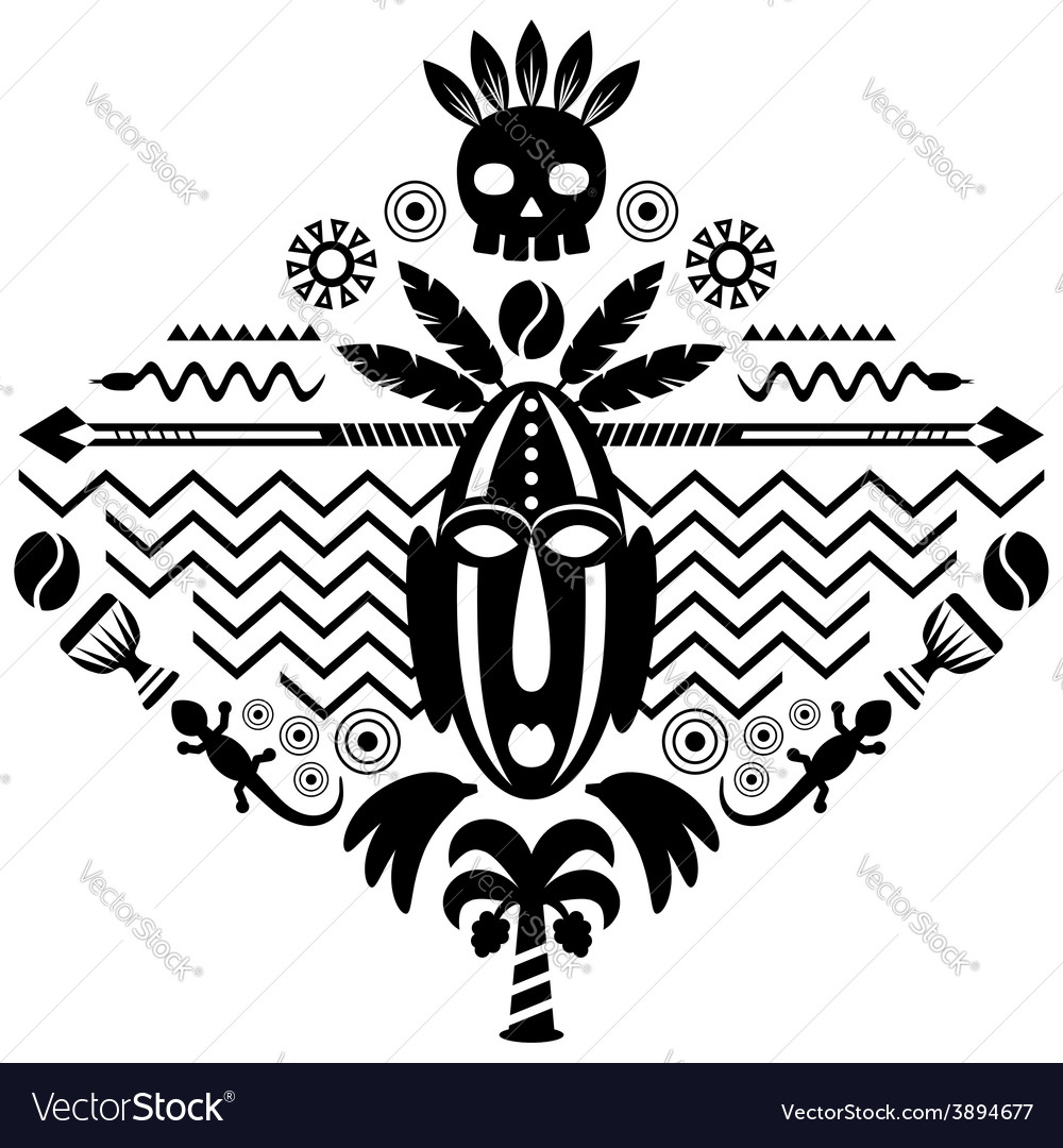 African abstract tribal vector | Price: 1 Credit (USD $1)