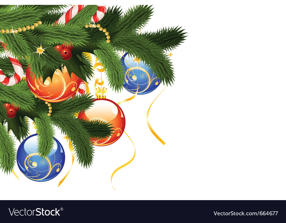 Christmas card with fir-tree and decoration isolat vector | Price: 1 Credit (USD $1)