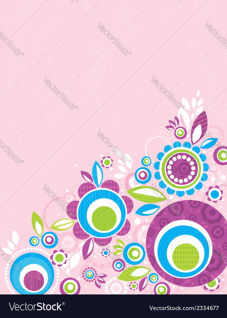 Color flowers on pink grunge background vector | Price: 1 Credit (USD $1)