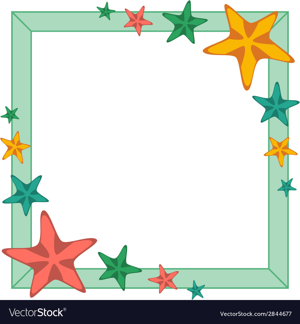 Decorative frame with cartoon starfishes vector | Price: 1 Credit (USD $1)