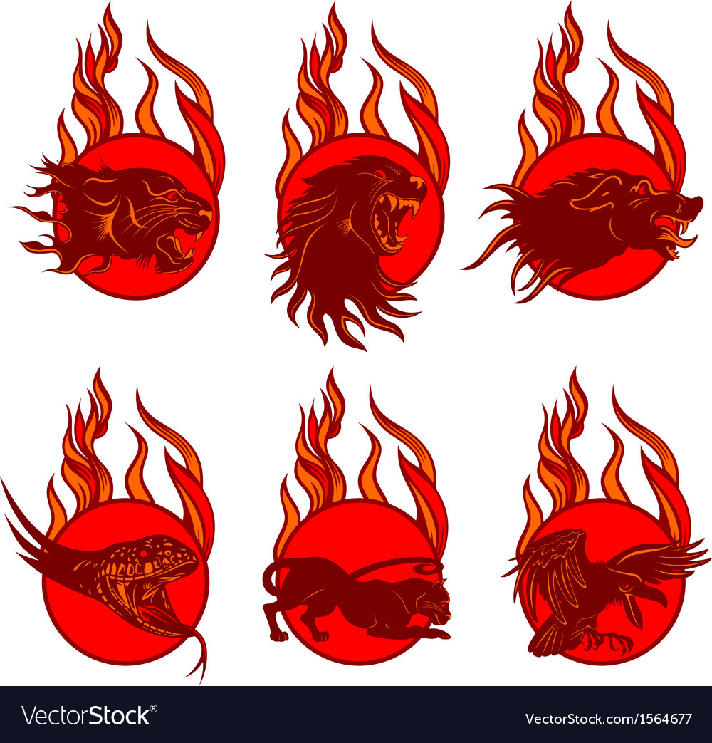 Fire animal emblems vector | Price: 1 Credit (USD $1)