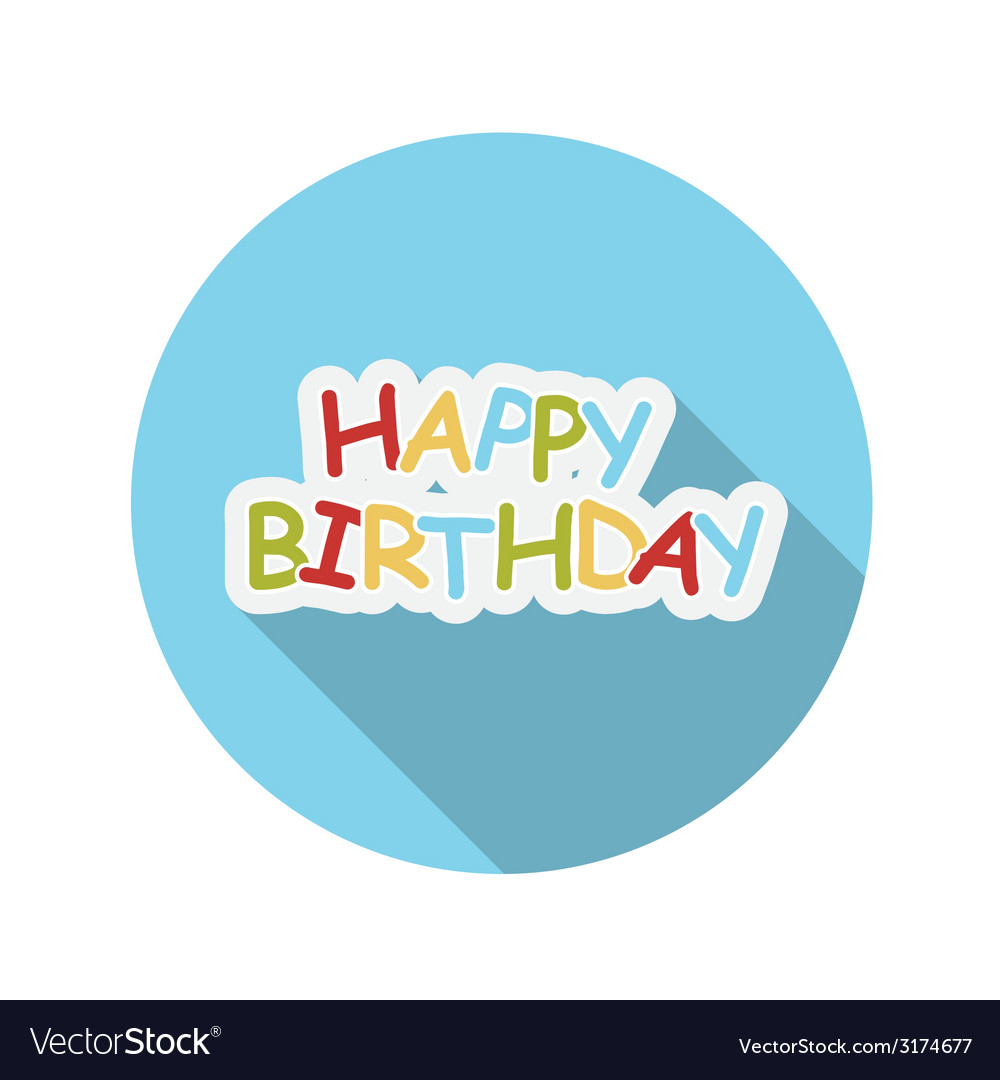 Flat design concept happy birthday with long vector | Price: 1 Credit (USD $1)