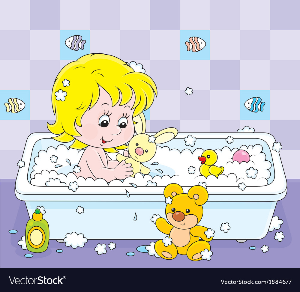 Girl bathing vector | Price: 1 Credit (USD $1)