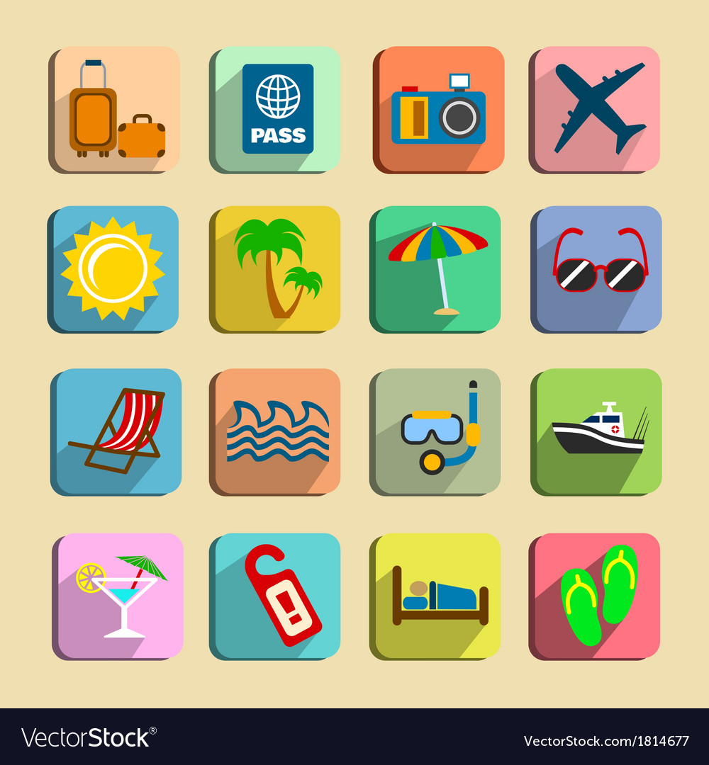 Global tourism icons set vector | Price: 1 Credit (USD $1)