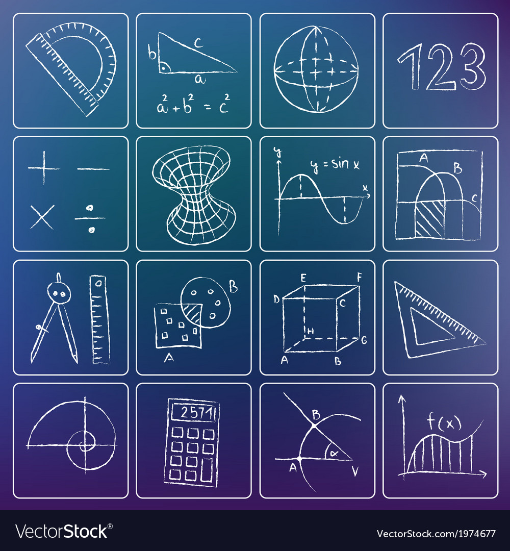 Math icons chalky doodles vector | Price: 1 Credit (USD $1)