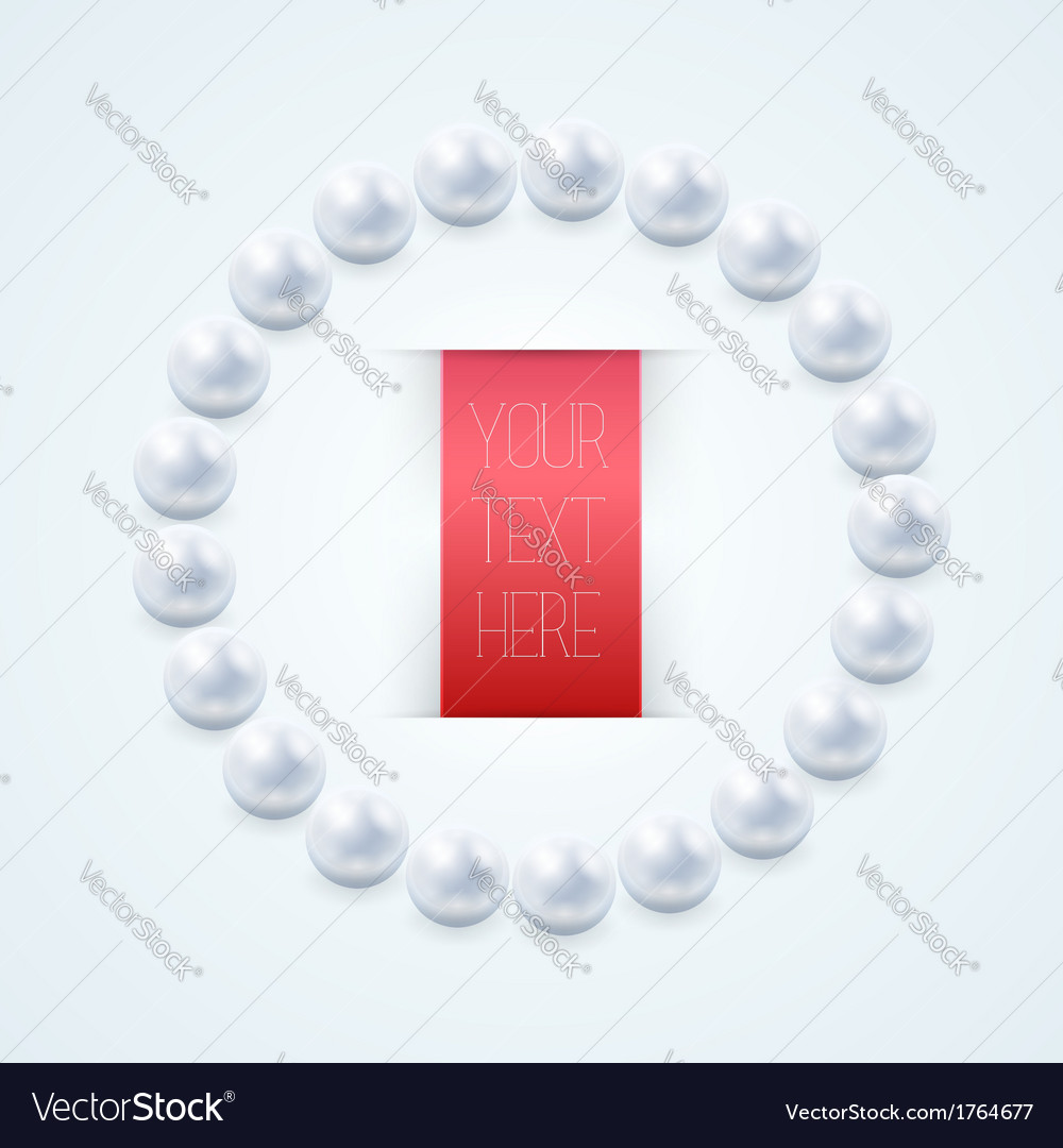 Pearl necklace with red label vector | Price: 1 Credit (USD $1)