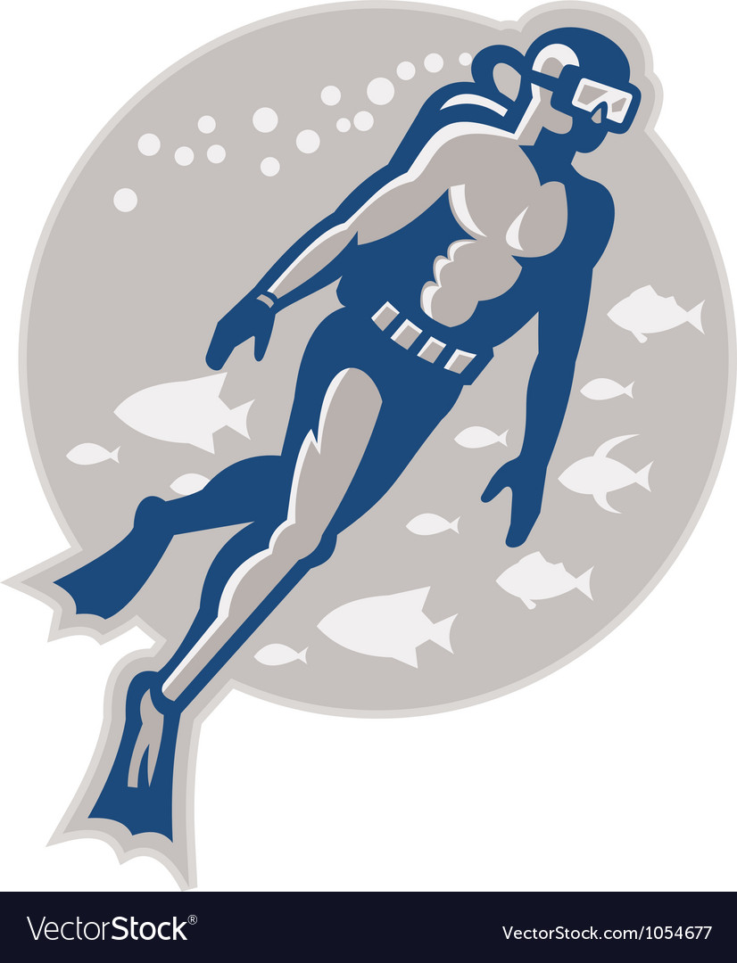 Scuba diver diving retro vector | Price: 1 Credit (USD $1)