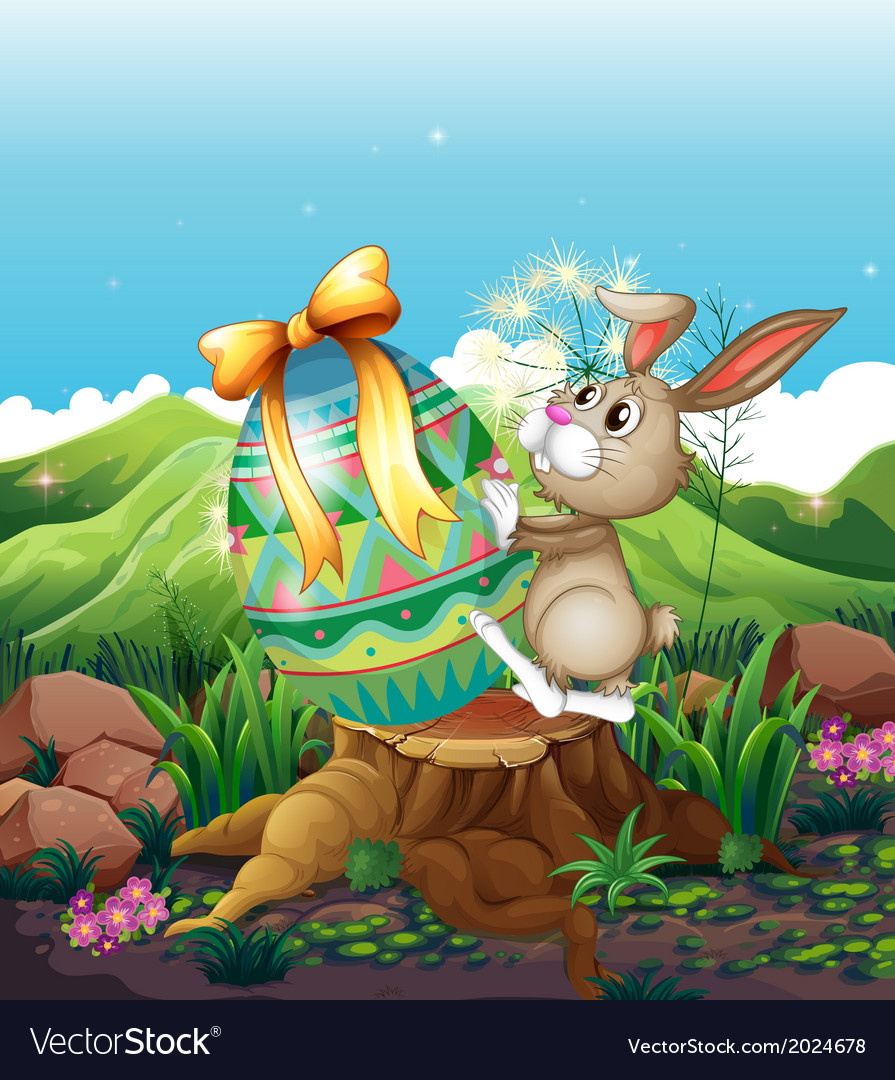 A bunny and a big easter egg above the stump vector | Price: 3 Credit (USD $3)