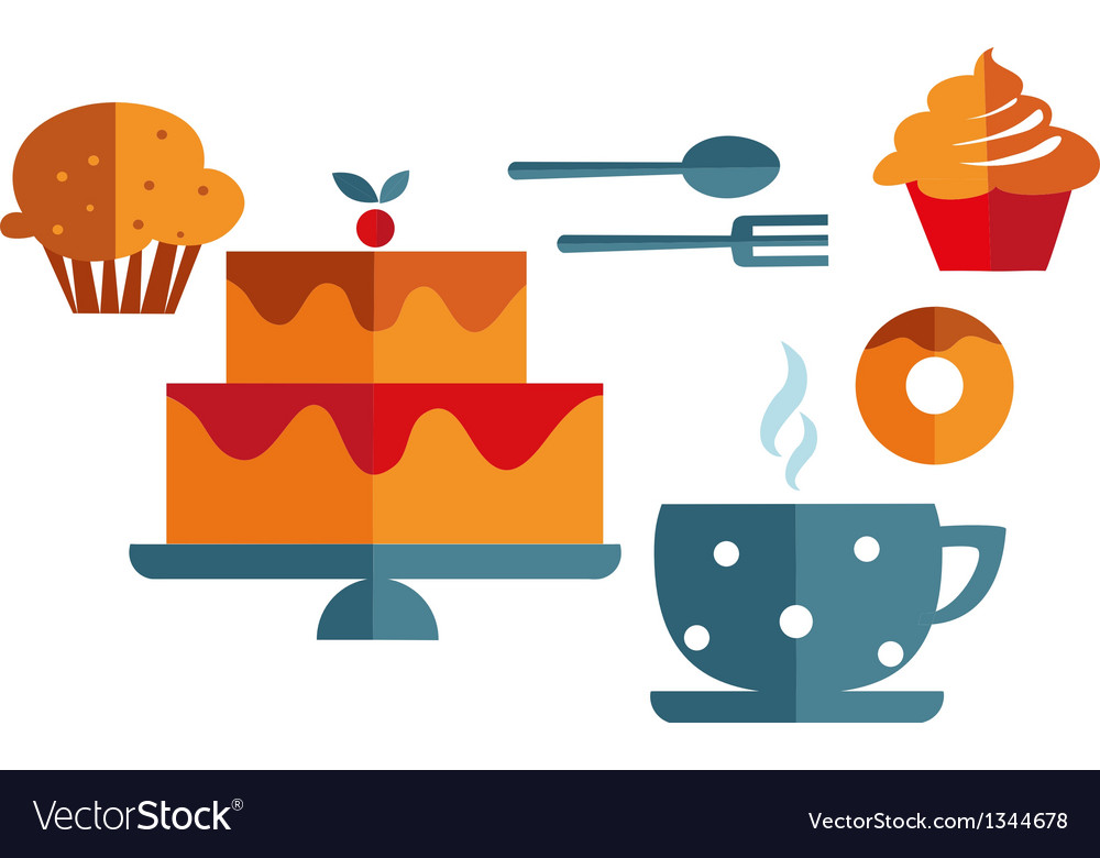 Breakfast with muffins and coffee vector | Price: 1 Credit (USD $1)