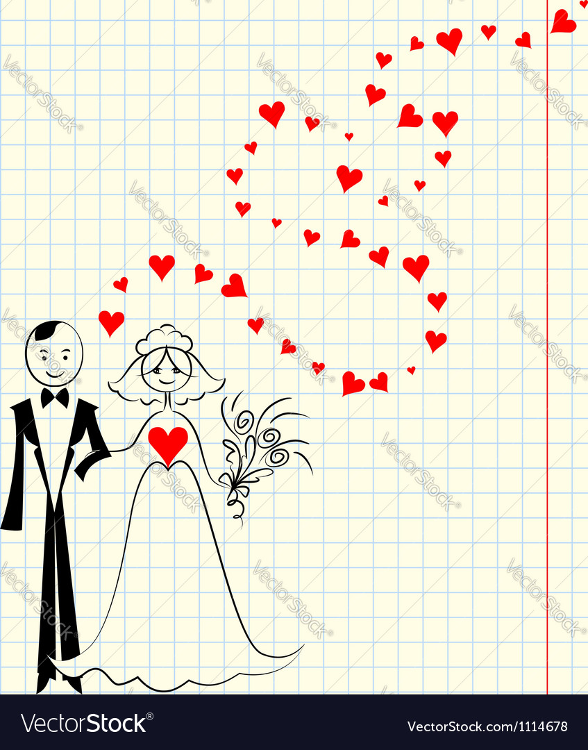 Bride and groom at the school a piece of scrap vector | Price: 1 Credit (USD $1)