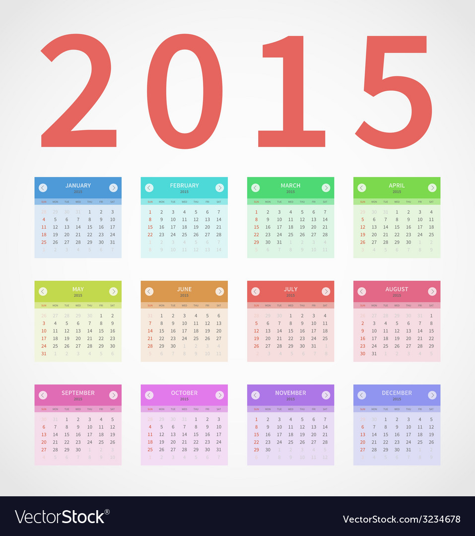 Calendar annual 2015 in flat design vector | Price: 1 Credit (USD $1)