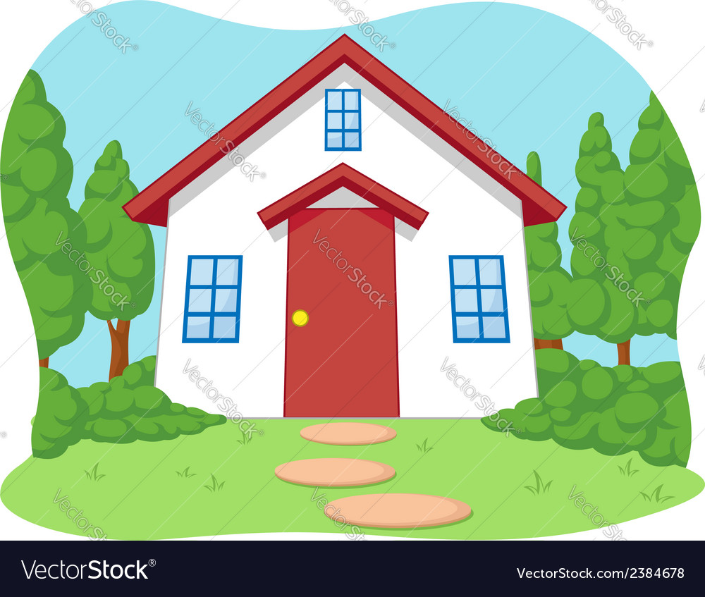 Cartoon of cute little house with garden vector | Price: 1 Credit (USD $1)