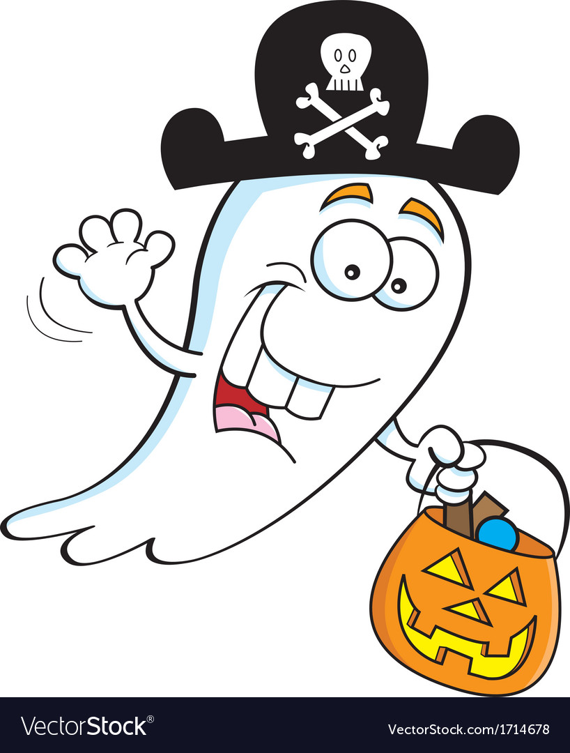 Cartoon trick or treat ghost vector | Price: 1 Credit (USD $1)