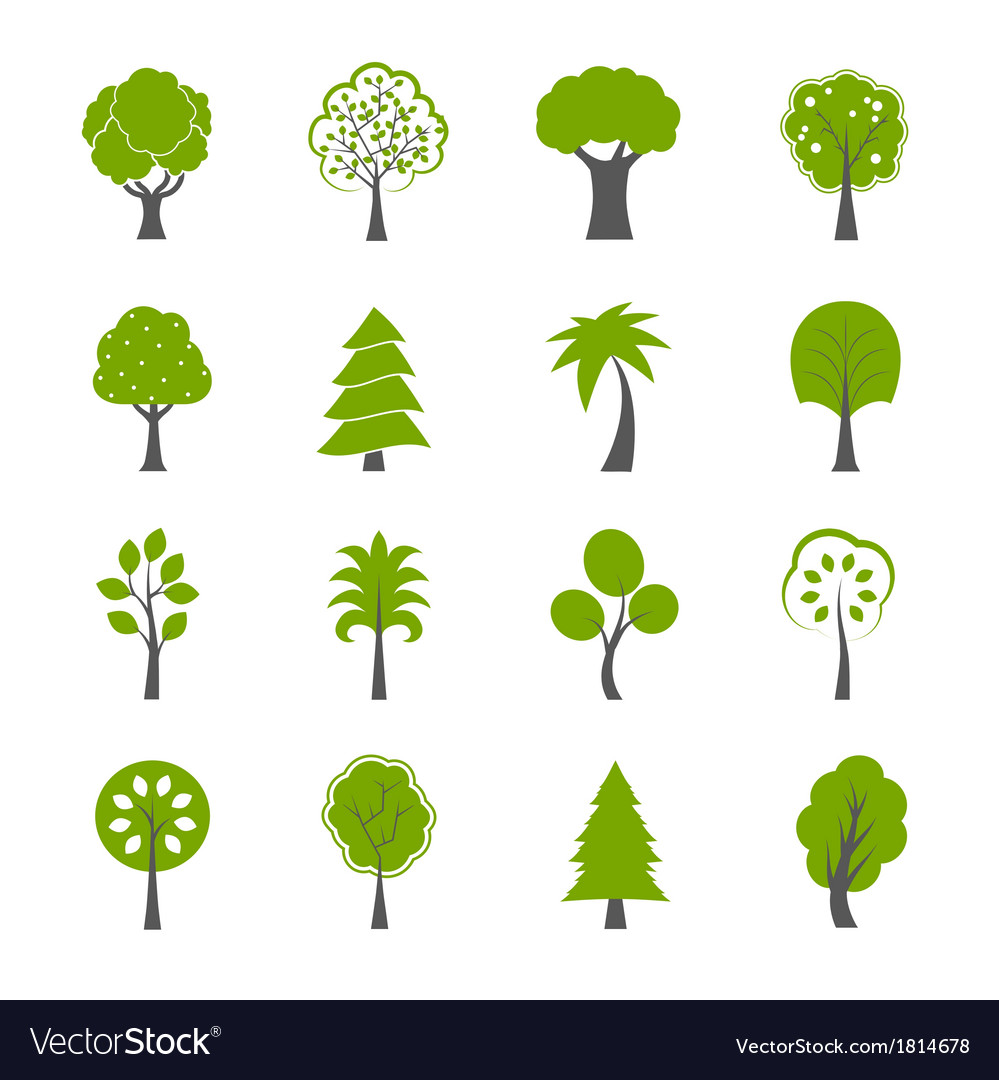 Collection of natural green trees icons set vector | Price: 1 Credit (USD $1)