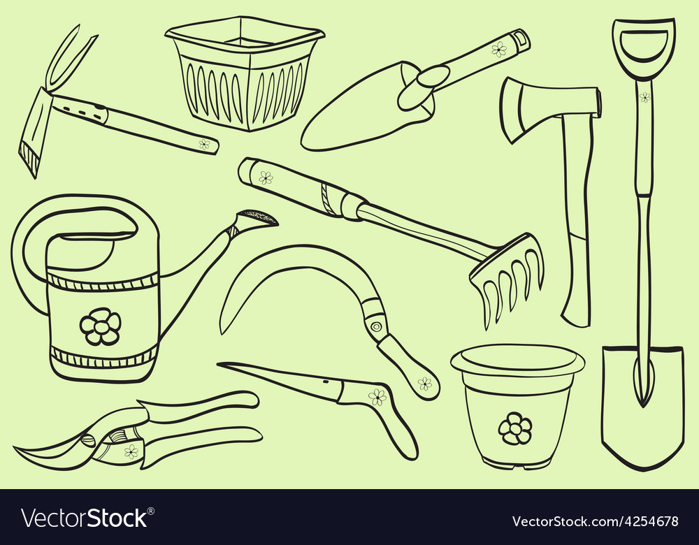 Gardening tools - doodle style vector | Price: 1 Credit (USD $1)