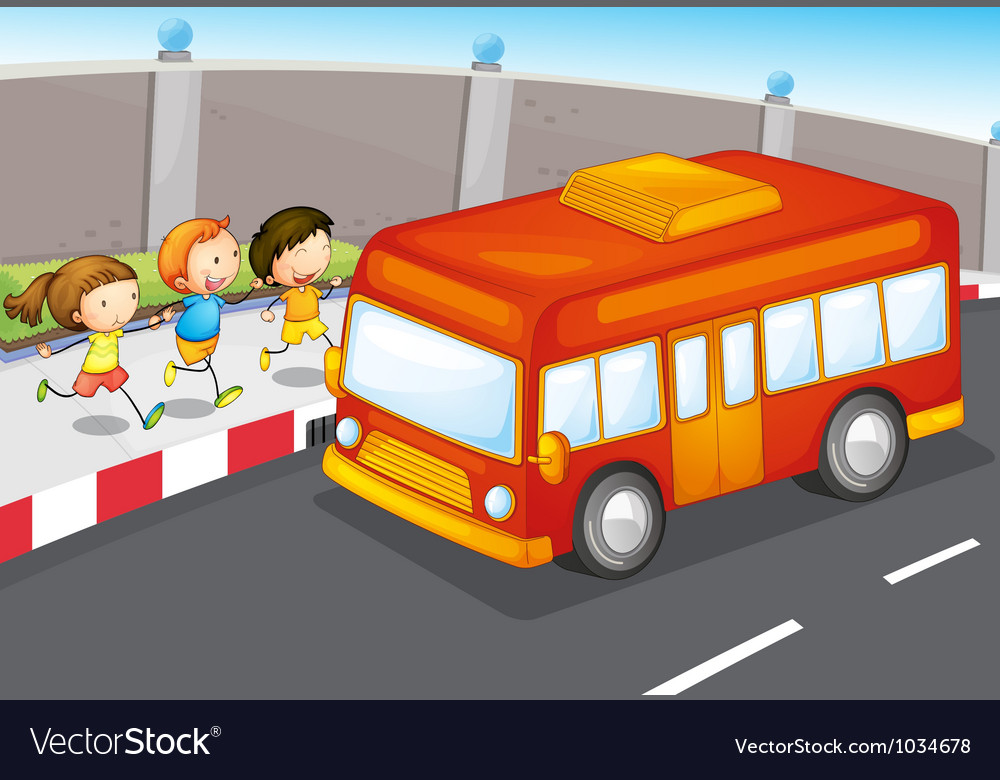 Kids and bus vector | Price: 1 Credit (USD $1)