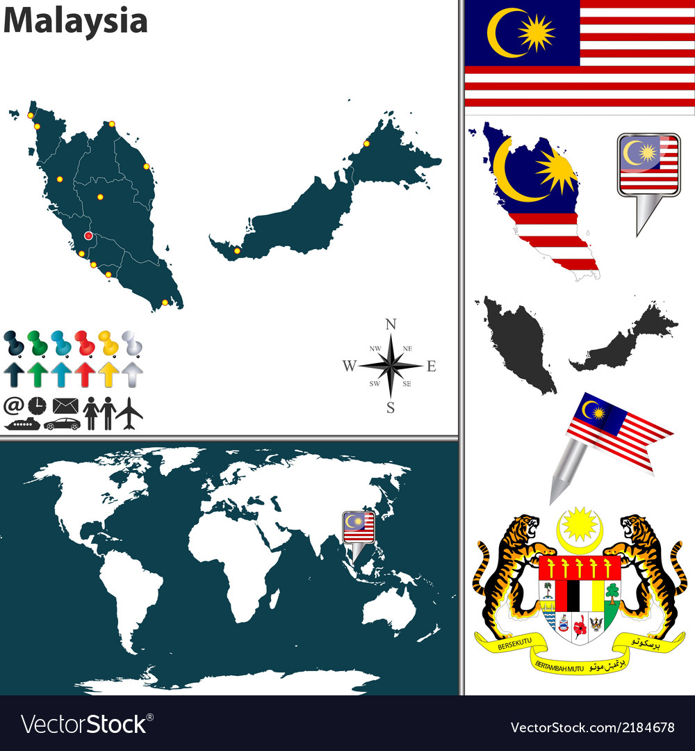 Malaysia map world small vector | Price: 1 Credit (USD $1)