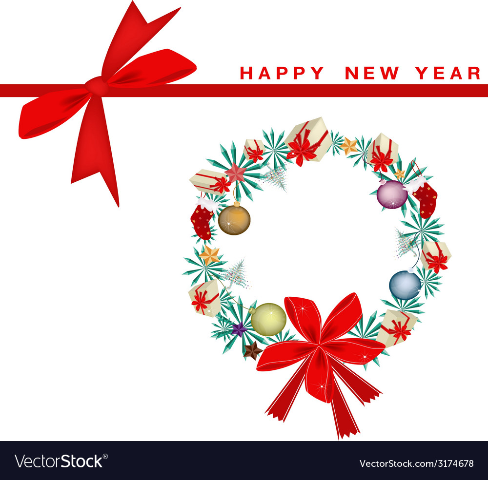 New year gift card with christmas wreath vector   Price: 1 Credit (USD $1)