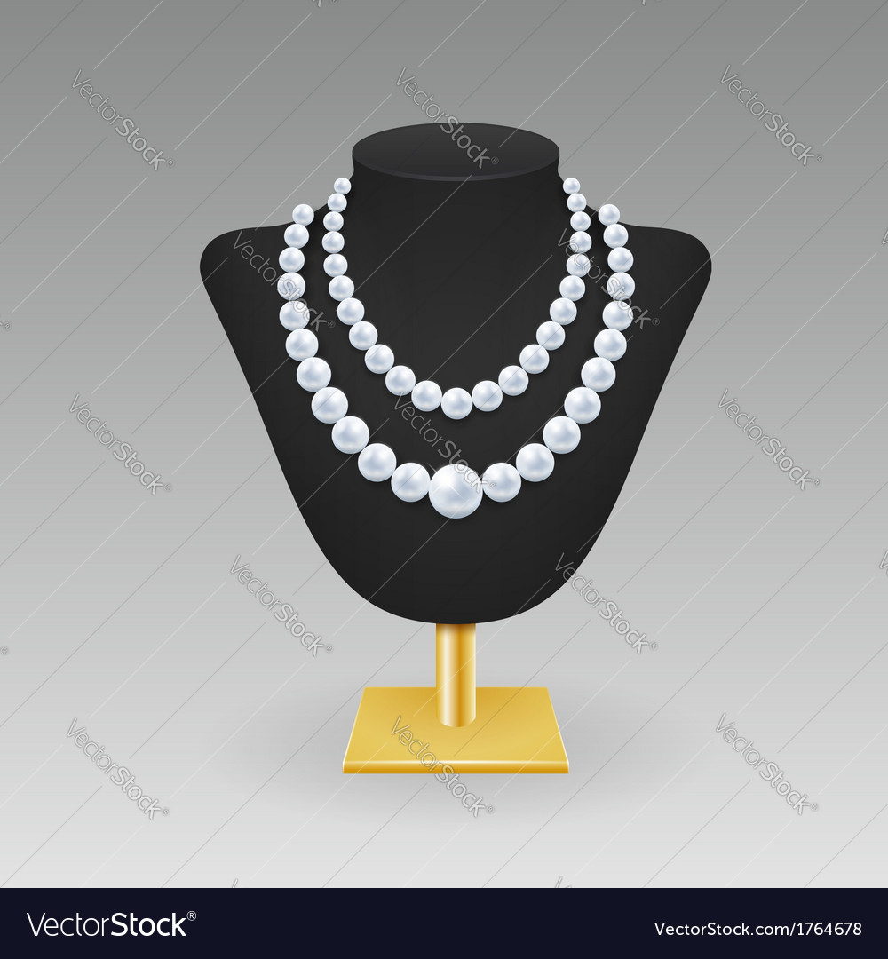 Pearl necklace on a rack vector | Price: 1 Credit (USD $1)