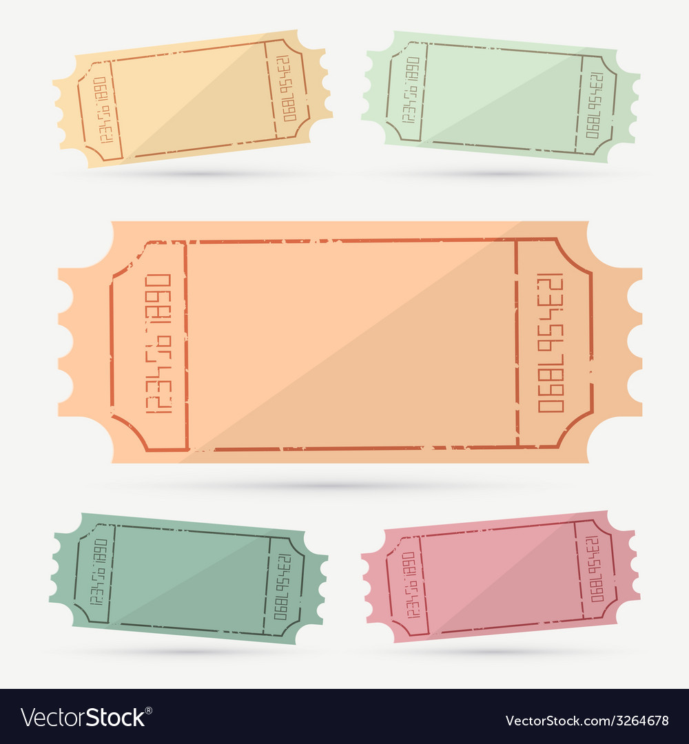 Retro - vintage empty ticket set vector | Price: 1 Credit (USD $1)