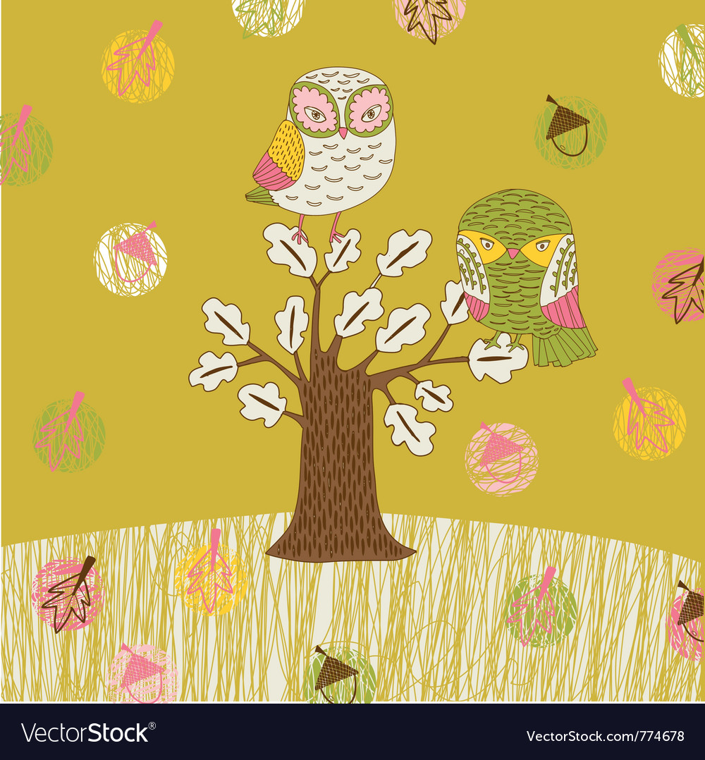 Seasonal owl tree vector | Price: 1 Credit (USD $1)