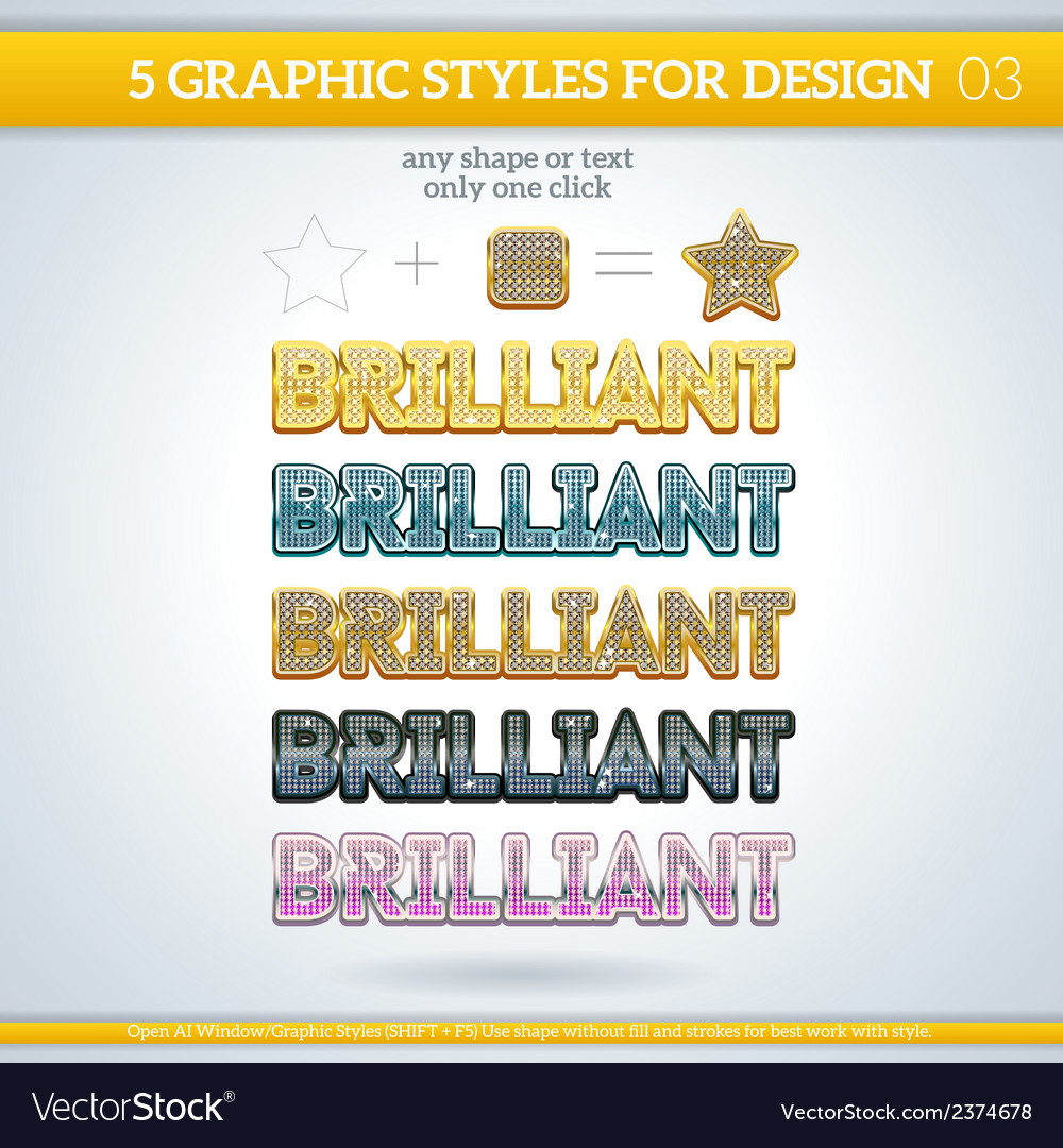 Set of brilliant graphic styles for design vector | Price: 1 Credit (USD $1)
