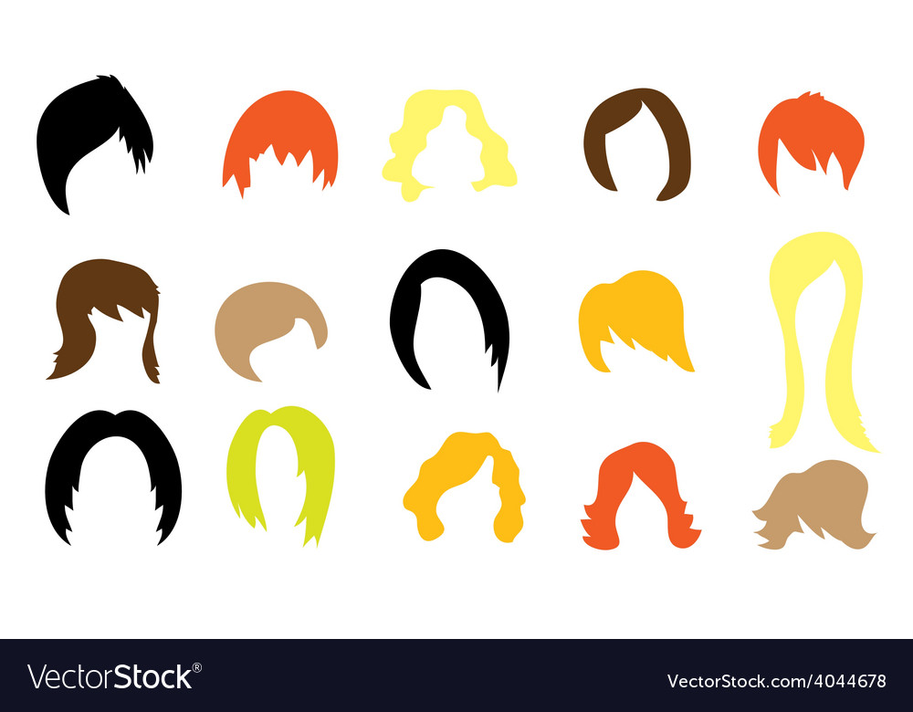 Set of colorful wigs vector | Price: 1 Credit (USD $1)