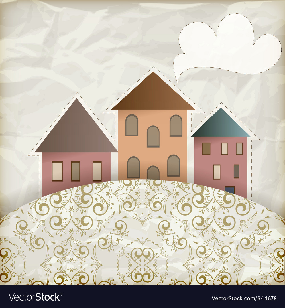 Vintage houses background vector | Price: 1 Credit (USD $1)