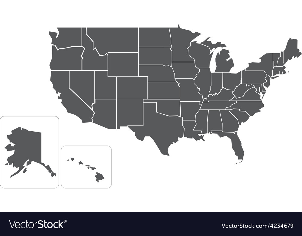 Blank simlified map of usa vector | Price: 1 Credit (USD $1)