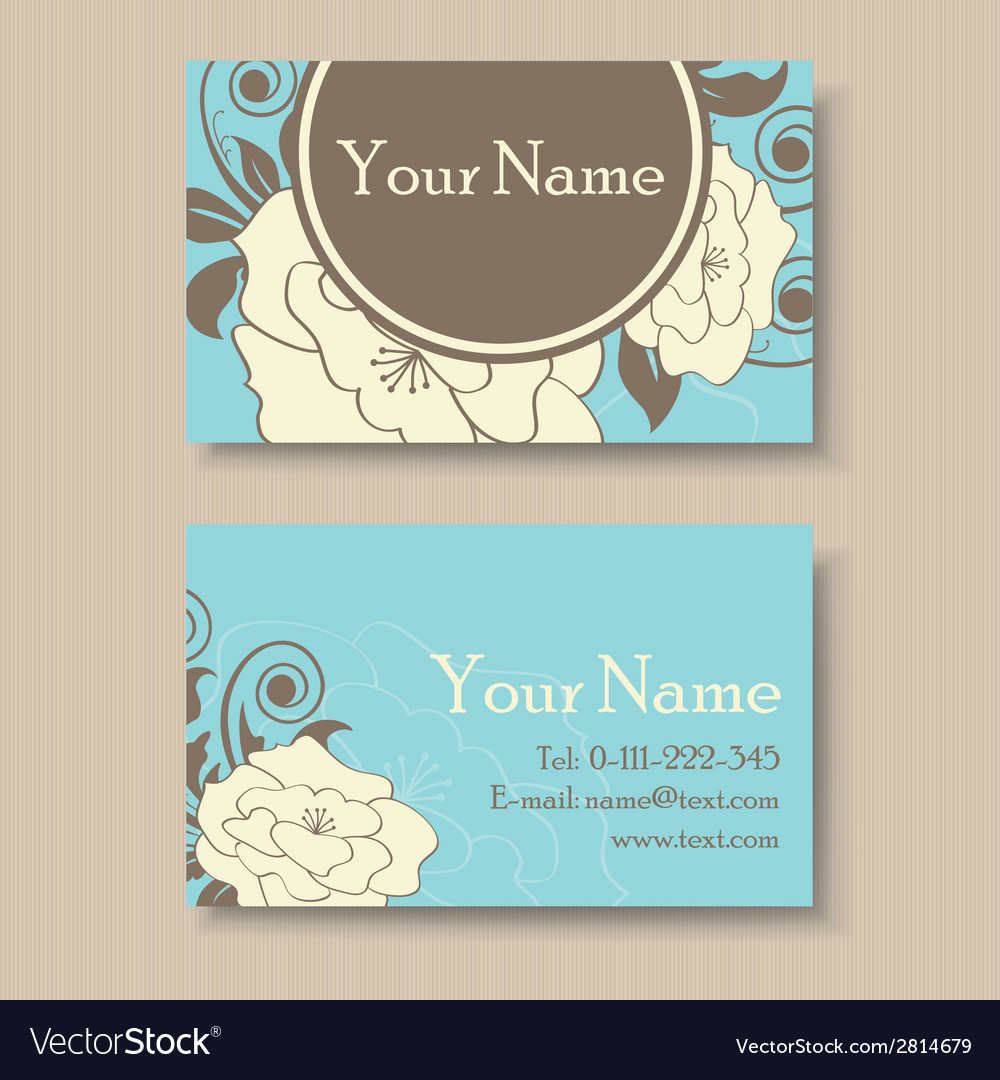 Blue floral visit card vector | Price: 1 Credit (USD $1)