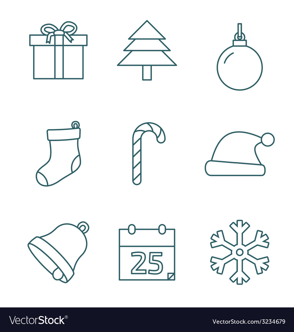 Christmas outline icons vector