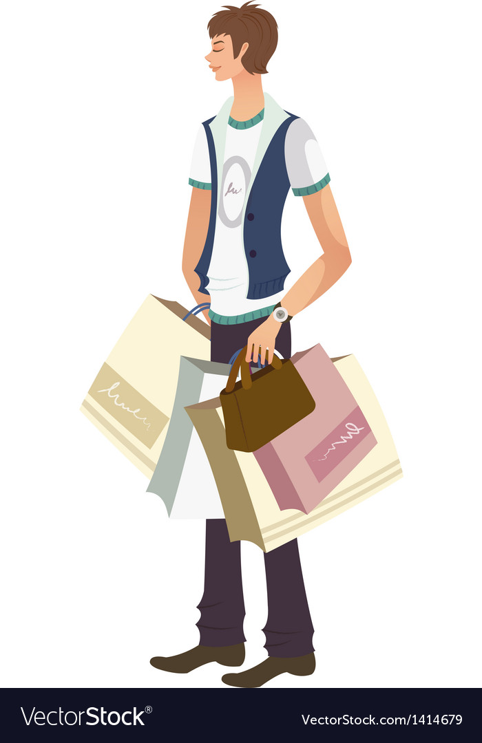 Man with shopping bags vector | Price: 3 Credit (USD $3)