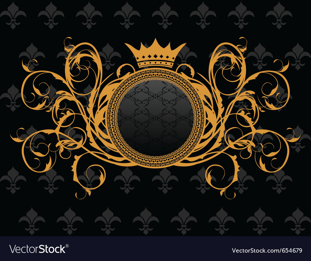 Retro frame with heraldic crown - vector | Price: 1 Credit (USD $1)