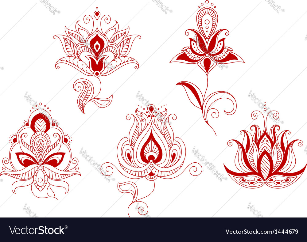 Set of abstract flowers in persian and indian vector | Price: 1 Credit (USD $1)