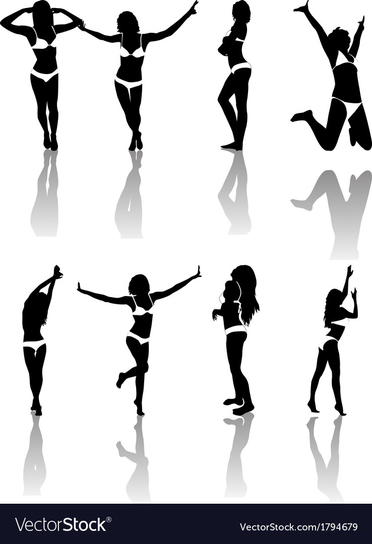 Silhouettes of girls vector | Price: 1 Credit (USD $1)
