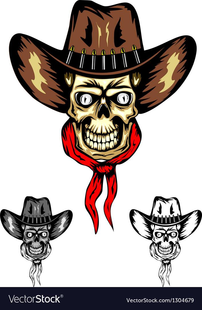 Skull cowboy color vector | Price: 3 Credit (USD $3)