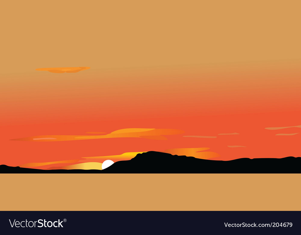 Sunrise in mountains vector | Price: 1 Credit (USD $1)
