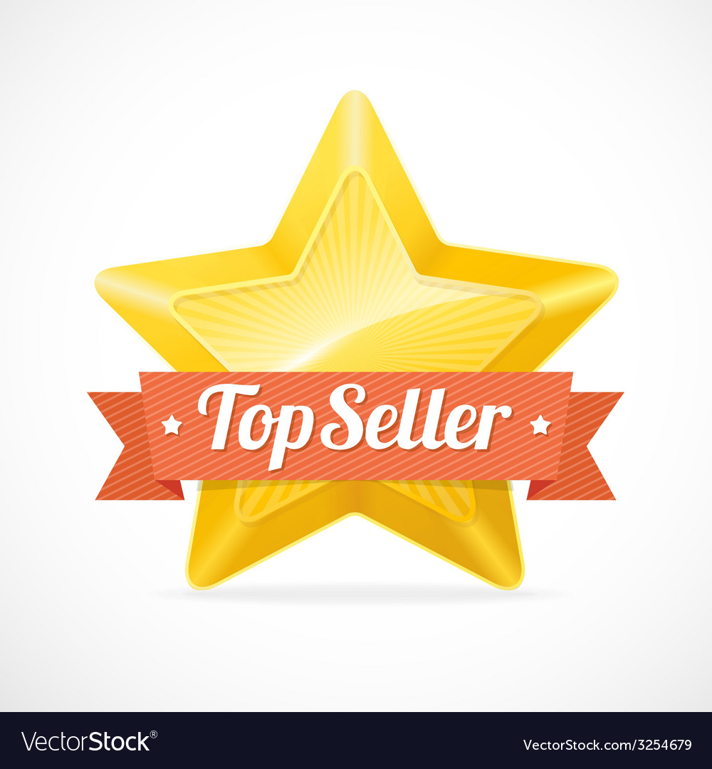 Top seller star label vector | Price: 1 Credit (USD $1)