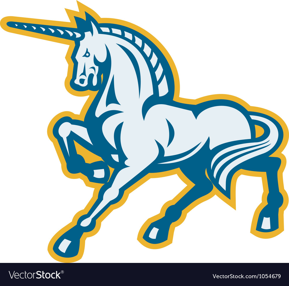 Unicorn prancing side view vector | Price: 1 Credit (USD $1)