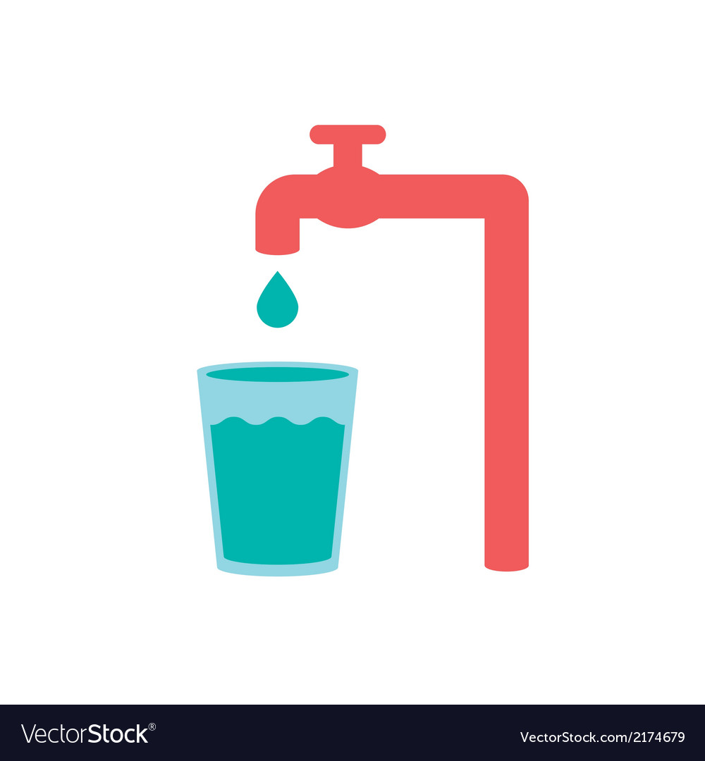 Water pour from tap to glass vector | Price: 1 Credit (USD $1)