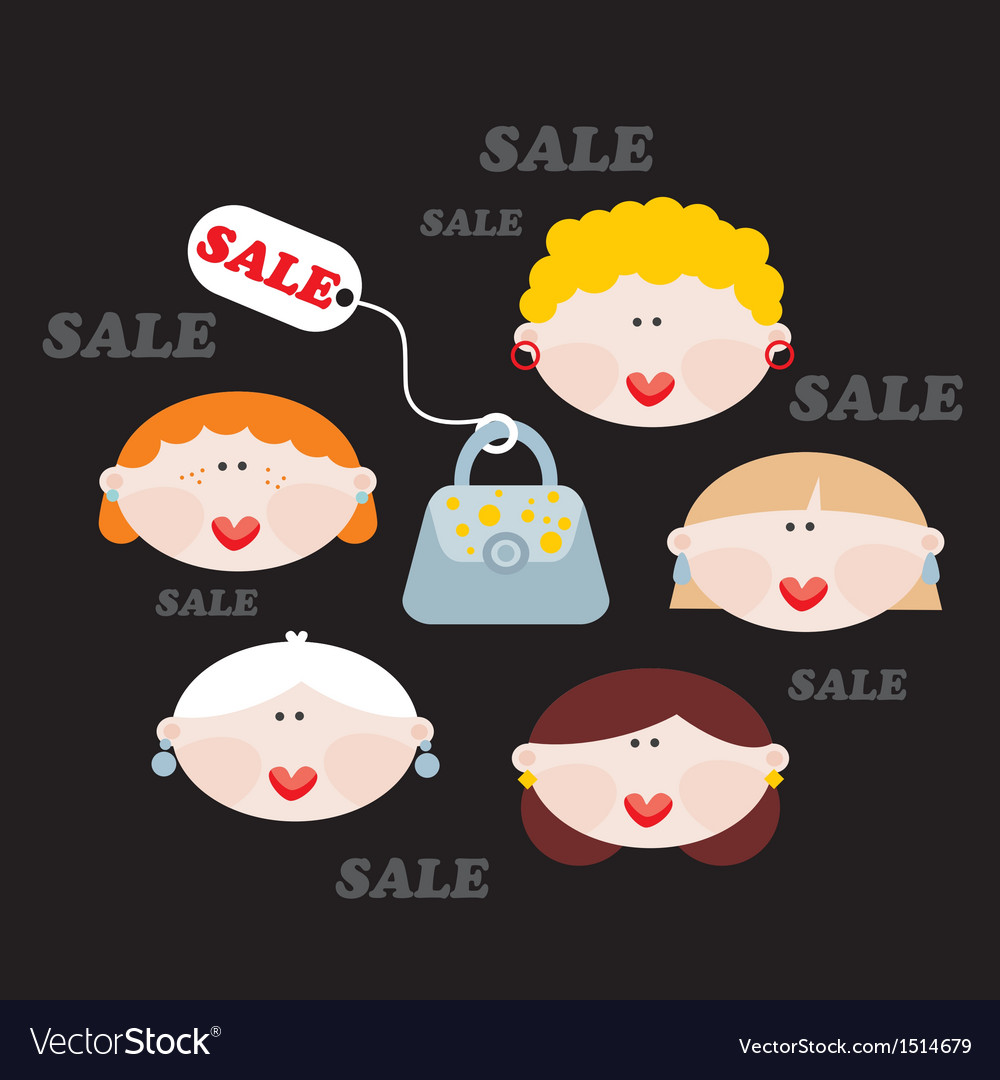 Women and sale vector | Price: 1 Credit (USD $1)