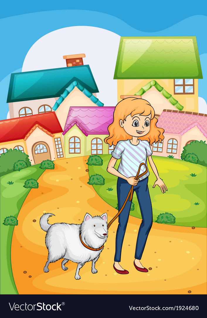 A woman strolling with her dog vector | Price: 3 Credit (USD $3)