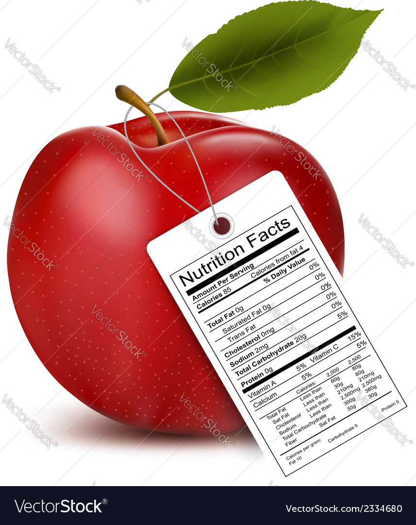 An apple with a nutrition facts label vector | Price: 1 Credit (USD $1)
