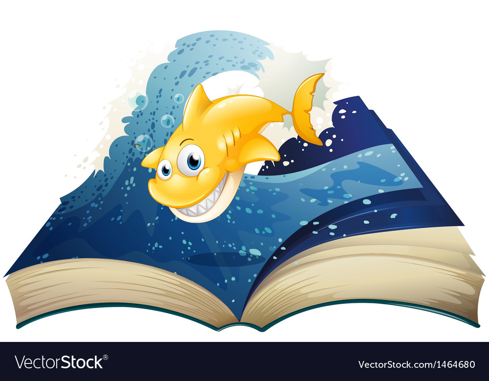 An open storybook with a smiling shark vector | Price: 1 Credit (USD $1)