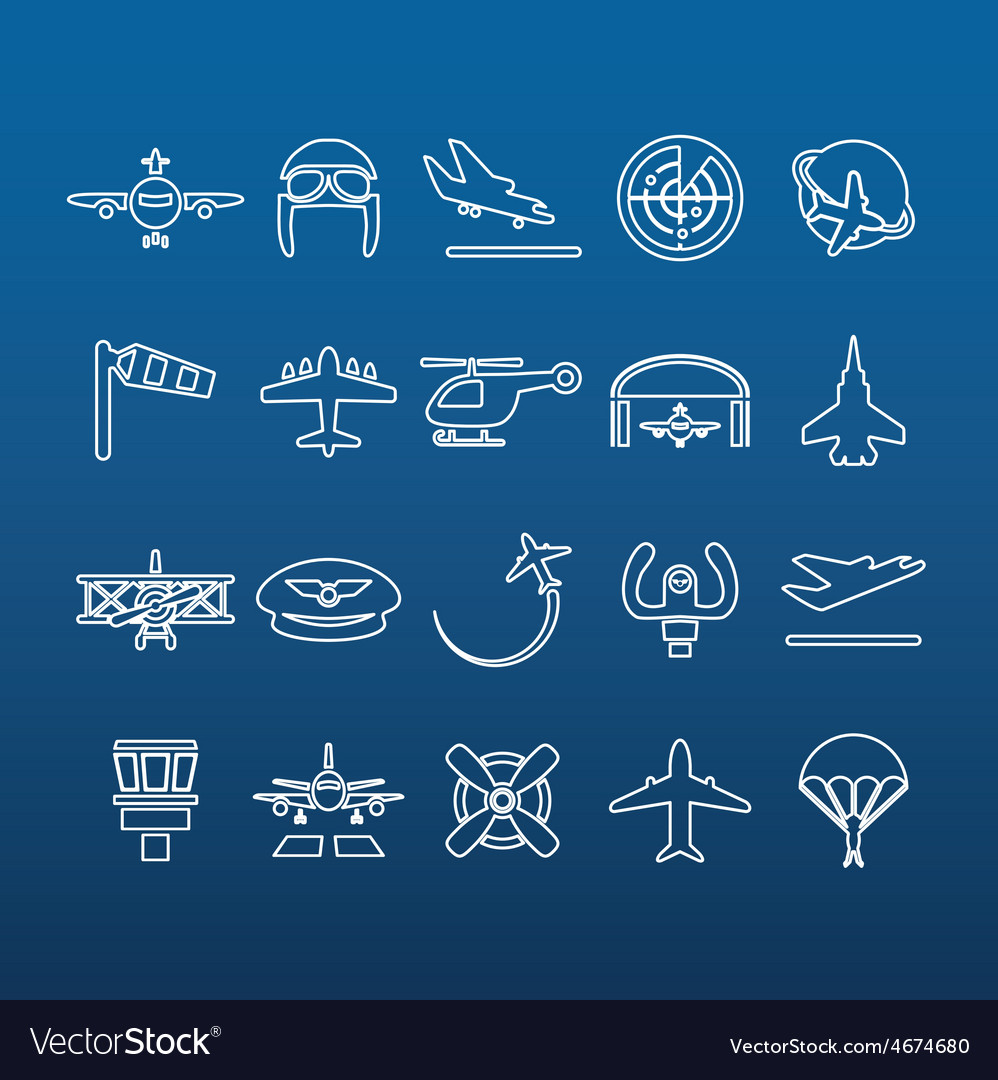Aviation outline icons vector | Price: 1 Credit (USD $1)