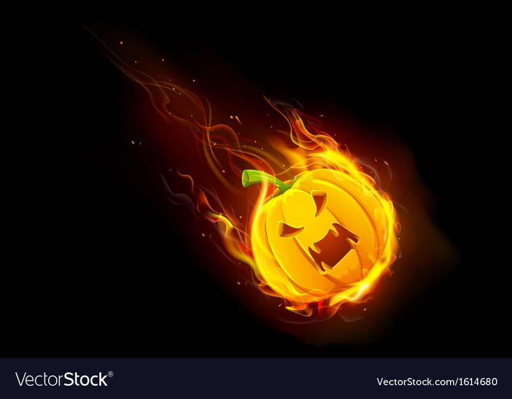 Halloween pumpkin in fire vector | Price: 1 Credit (USD $1)