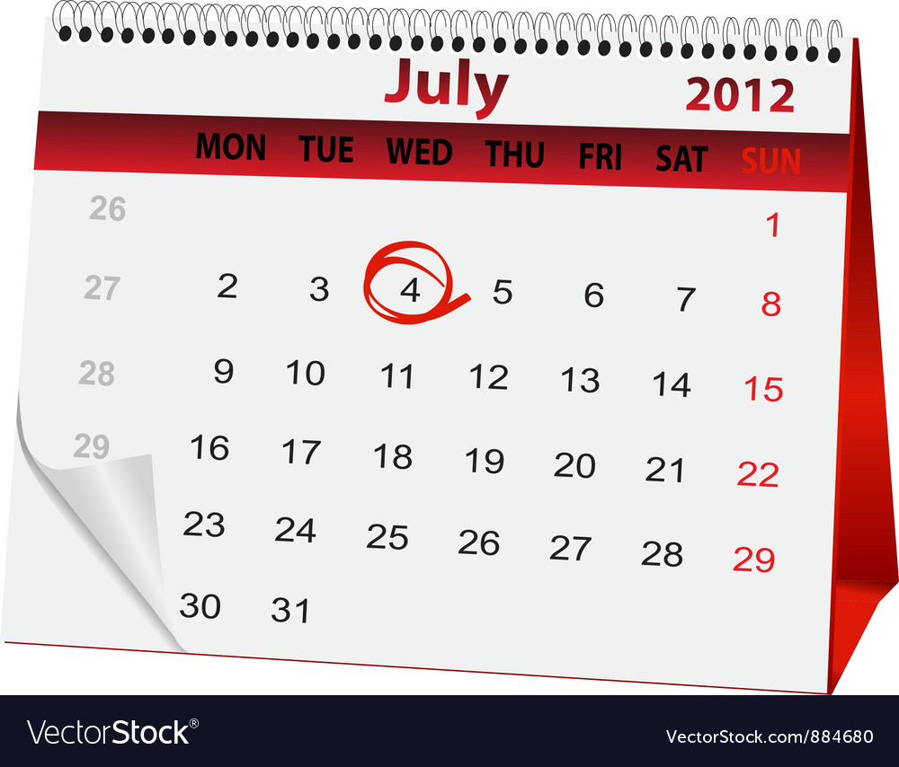 Holiday calendar for 4 july vector | Price: 1 Credit (USD $1)