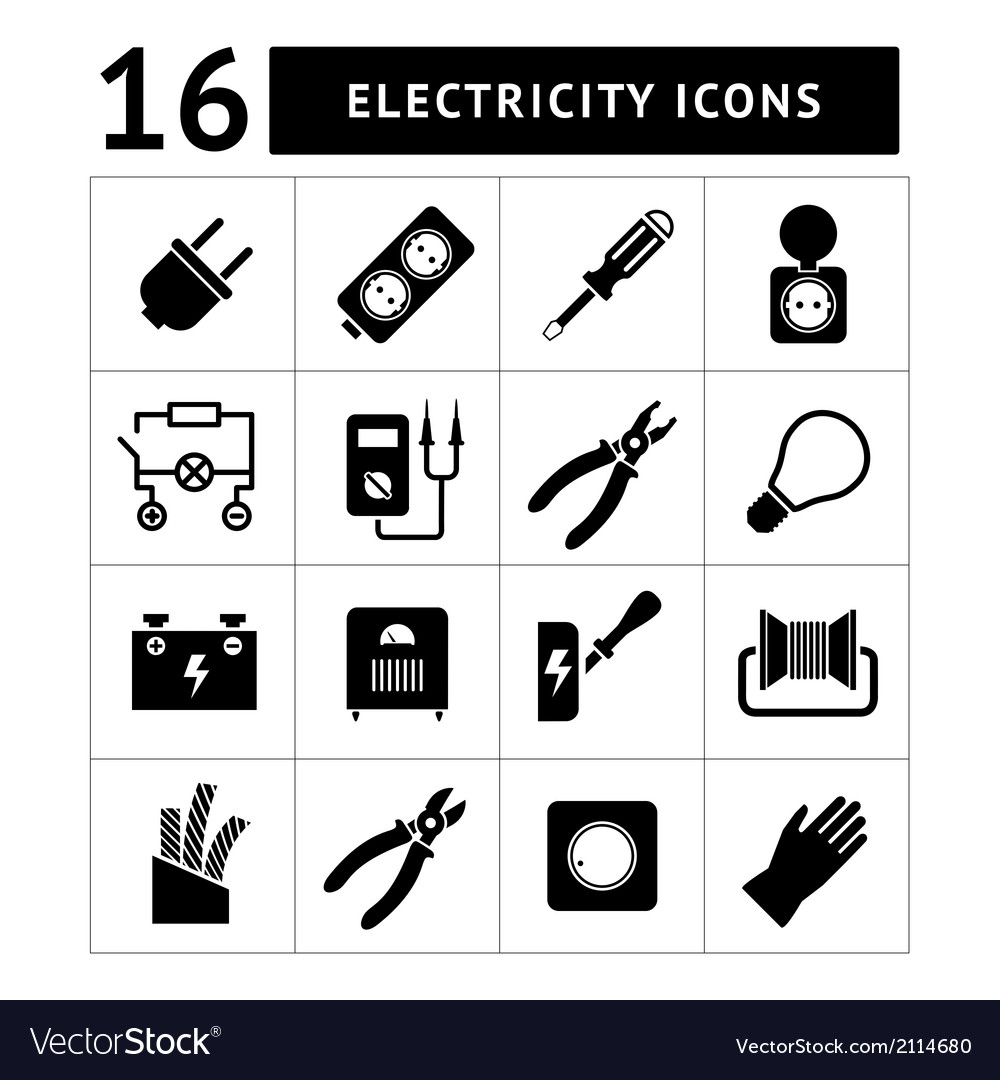 Set icons of electricity vector | Price: 1 Credit (USD $1)
